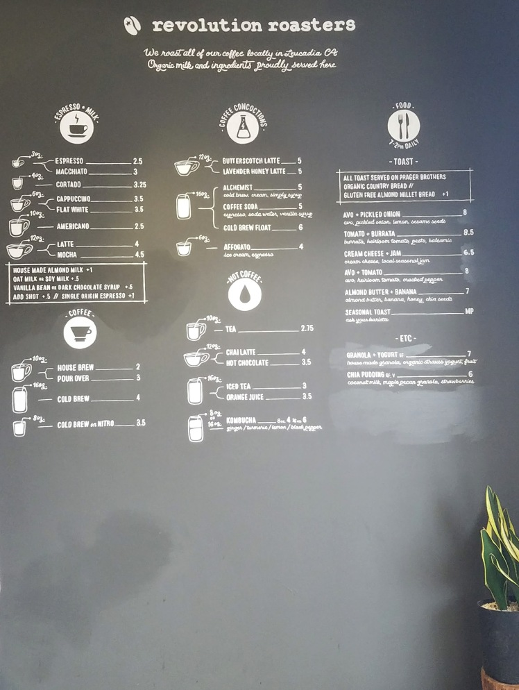 Revolution Roasters Menu